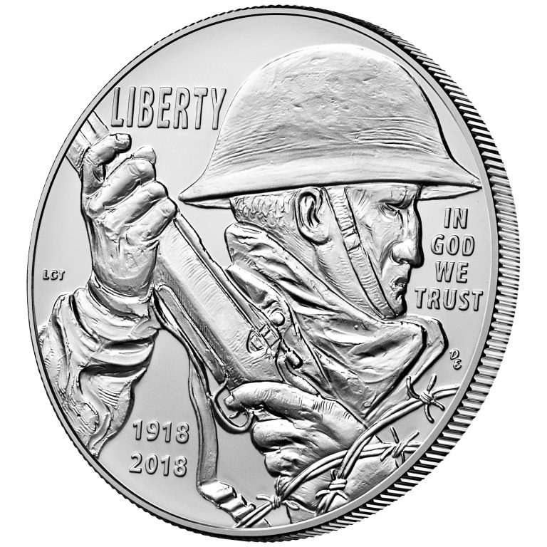 2018 World War I Centennial Commemorative Silver Uncirculated Obverse Angle