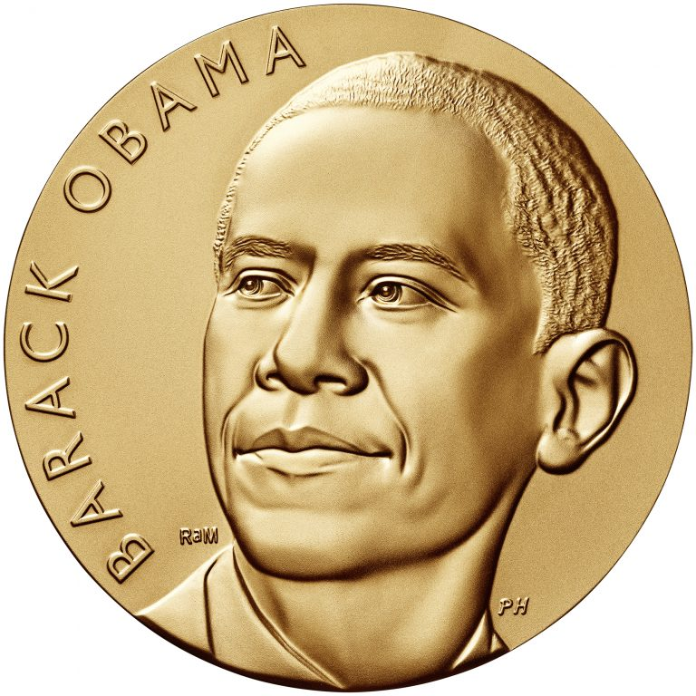 Barack Obama Term 1 Presidential Bronze Medal obverse sculpt
