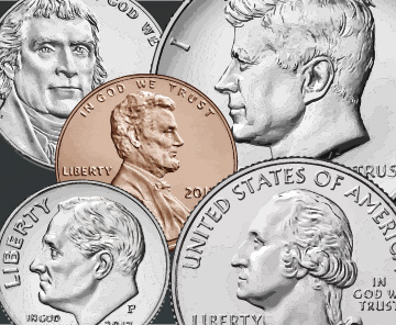 Overlapping nickel, penny, dime, quarter, and half dollar coins on grey background.