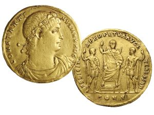 Obverse and reverse of a gold medallion featuring Emperor Constantine