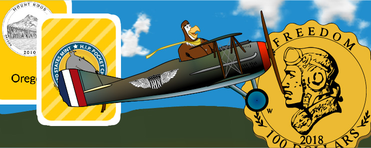 Drawing of Peter the Eagle flying WWI-era plane with 2 playing cards and a gold coin in background.