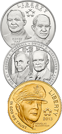 5-Star Generals Commemorative Coin Program Obverses