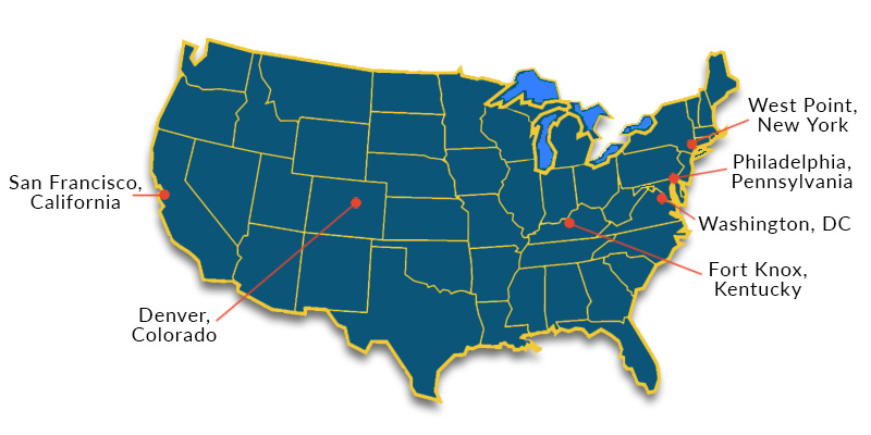 Map of the U.S. labeled with the locations of the San Francisco, CA; Denver, CO; Fort Knox, KY; Washington, DC; Philadelphia, PA; and West Point, NY Mint facilities.