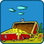 Color drawing of an underwater scene with a treasure chest filled with gold and three fish swimming above it.