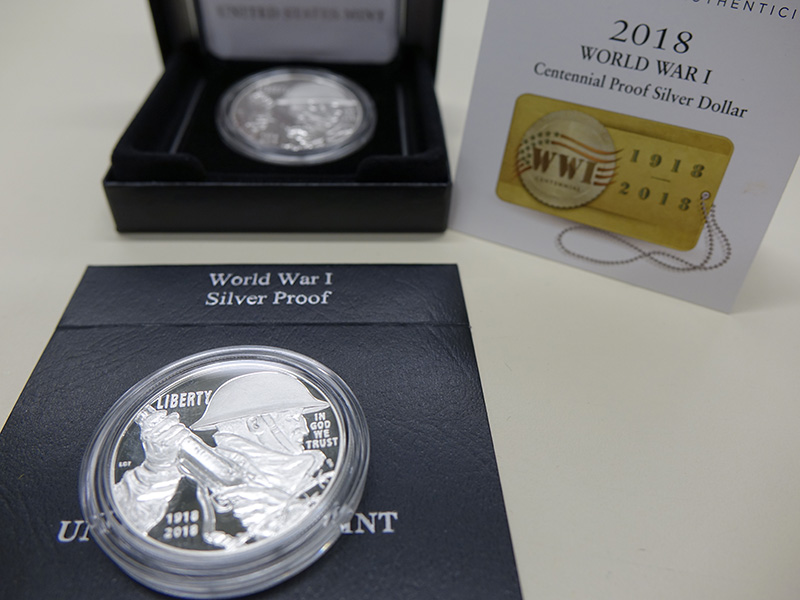 World War I Centennial Proof Silver Dollar in its packaging.
