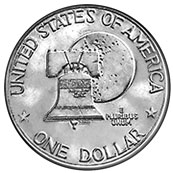 The 1976 Bicentennial Dollar reverse shows the Liberty Bell over the Moon.