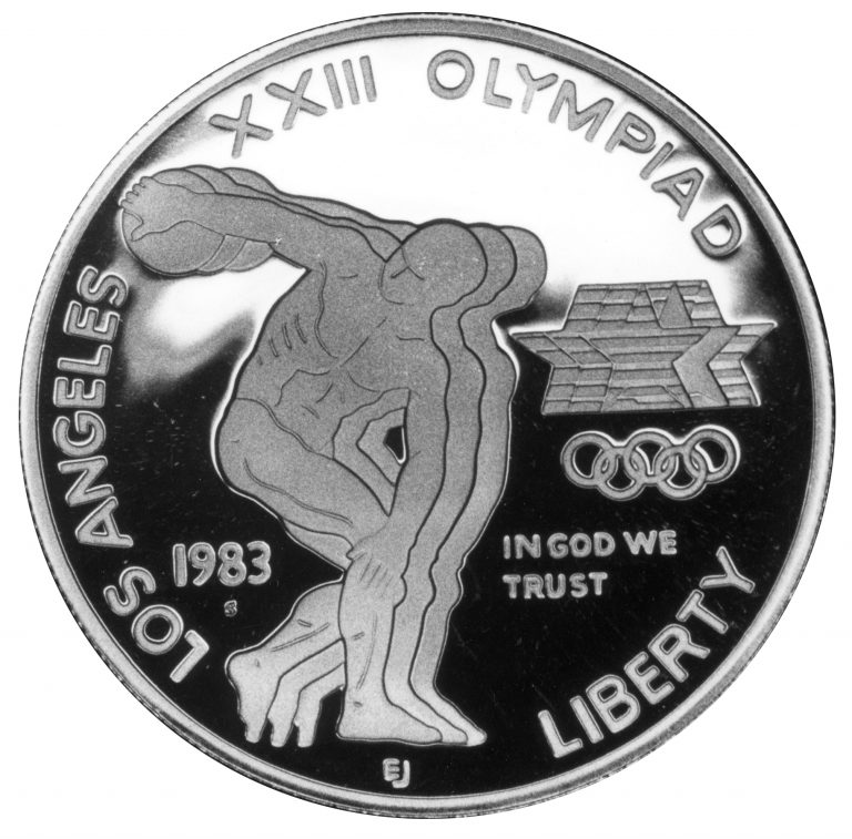 1983 Olympics Los Angeles Dollar Discus Throw Commemorative Silver Dollar Proof Obverse