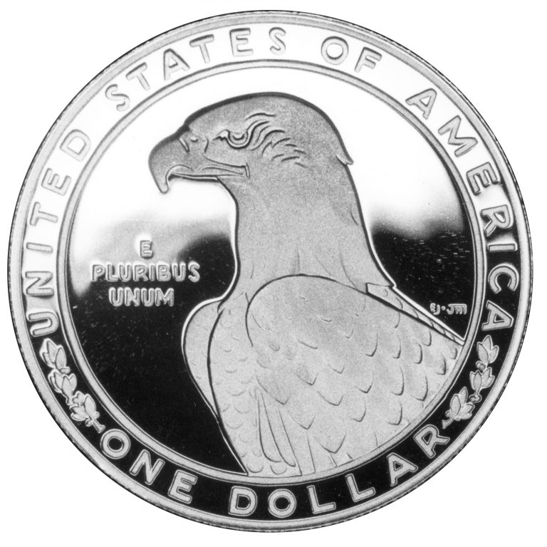 1983 Olympics Los Angeles Dollar Discus Throw Commemorative Silver Dollar Proof Reverse