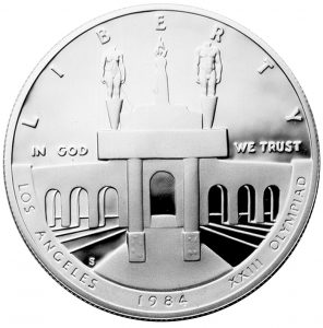 1984 Olympics Los Angeles Coliseum Commemorative Silver Dollar Proof Obverse