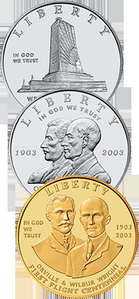 2003 First Flight Centennial Commemorative Coin Program Obverses