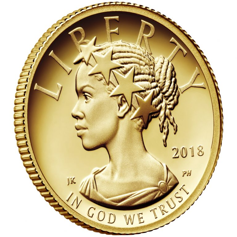 2018 American Liberty One-Tenth Ounce Gold Proof Coin Obverse Angle