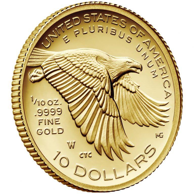 2018 American Liberty One-Tenth Ounce Gold Proof Coin Reverse Angle