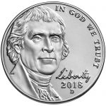 2018 Jefferson Nickel Uncirculated Obverse Denver