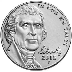 2018 Jefferson Nickel Uncirculated Obverse Philadelphia
