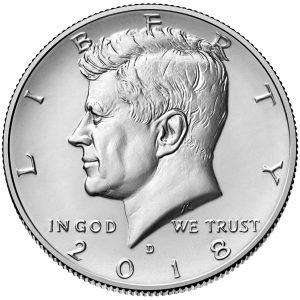 2018 Kennedy Half Dollar Uncirculated Obverse Denver