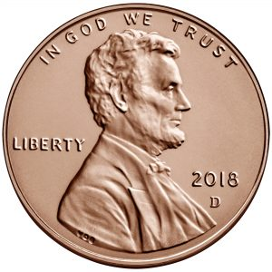 2018 Lincoln Penny Uncirculated Obverse Denver