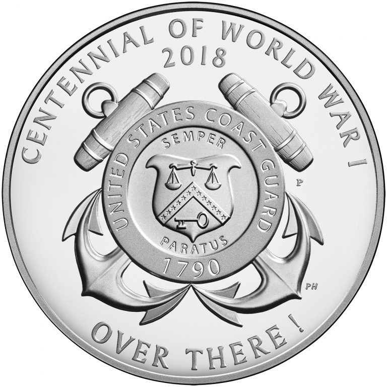 2018 World War I Centennial Commemorative Silver Medal Coast Guard Reverse