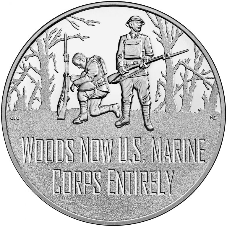 2018 World War I Centennial Commemorative Silver Medal Marines Obverse