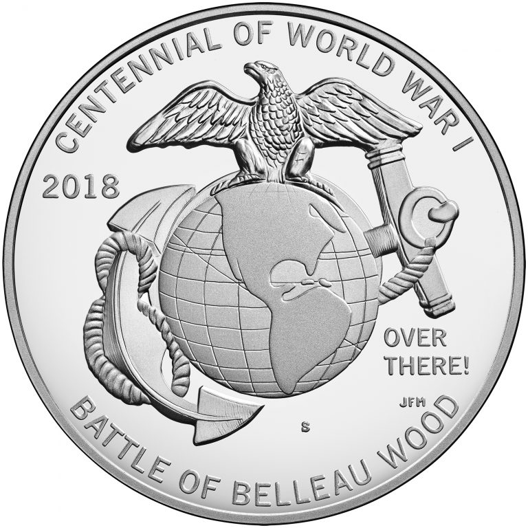 2018 World War I Centennial Commemorative Silver Medal Marines Reverse