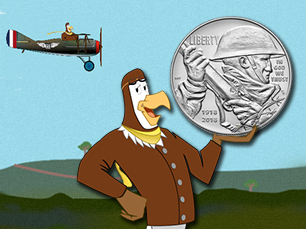 peter the eagle with world war one silver dollar in front of flying biplane