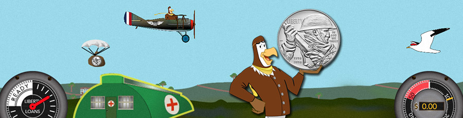 peter the eagle holds a ww1 centennial silver dollar in front of screenshot from his flying game