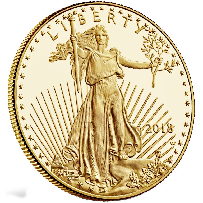 2018 American Eagle Gold One Ounce Proof Coin Obverse Angle