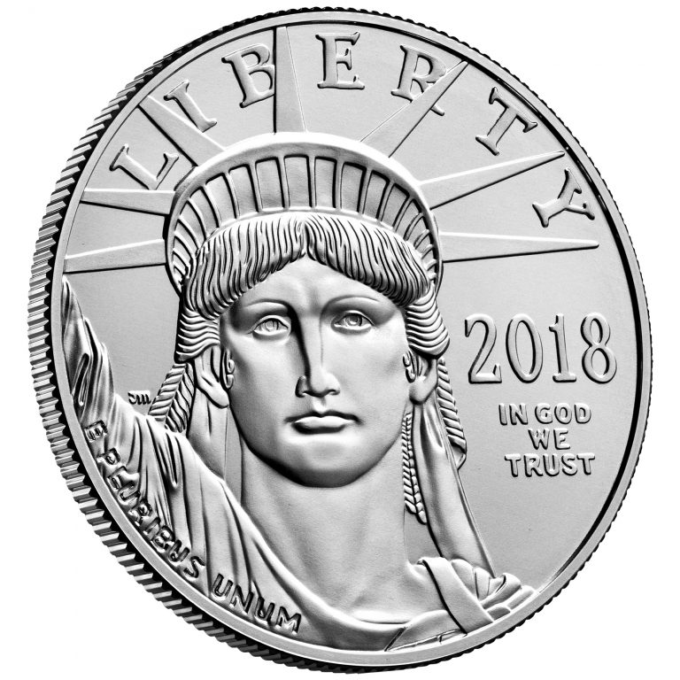2018 American Eagle Platinum One Ounce Bullion Coin Obverse Angle