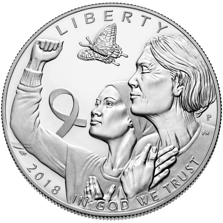2018 Breast Cancer Awareness Commemorative Silver Proof Coin Obverse