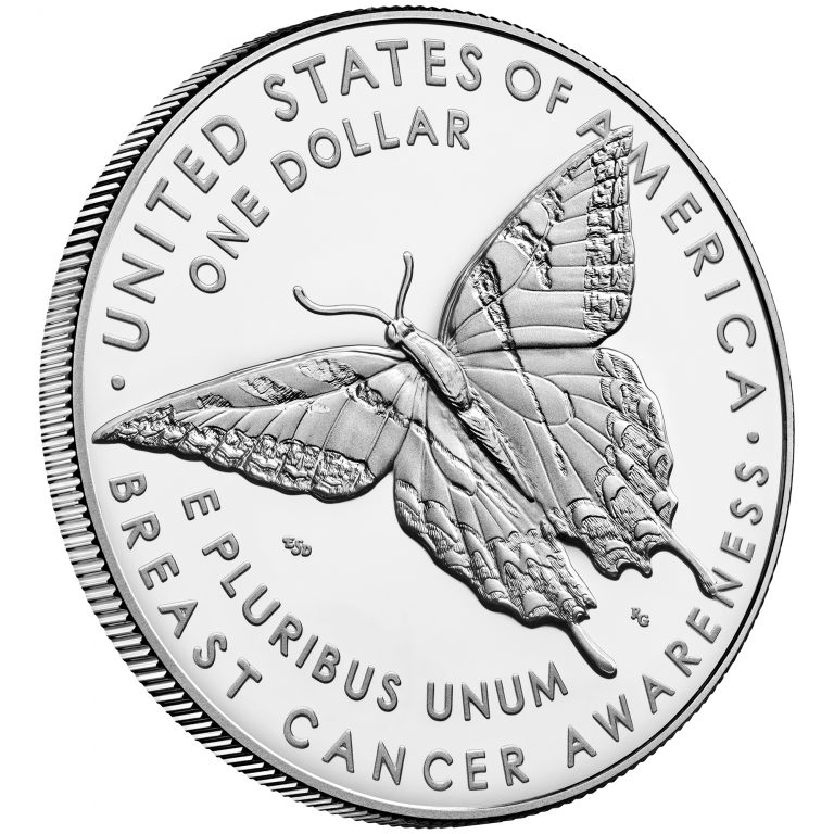 2018 Breast Cancer Awareness Commemorative Silver Proof Coin Reverse Angle
