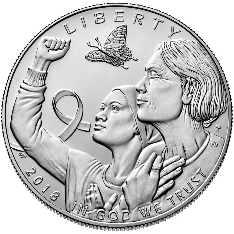 2018 Breast Cancer Awareness Commemorative Silver Uncirculated Coin Obverse