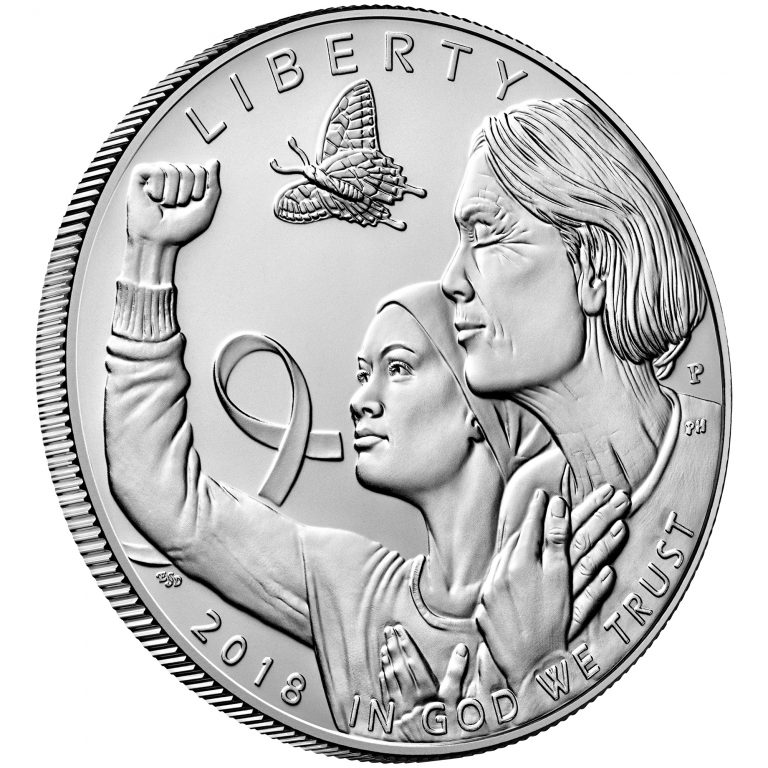 2018 Breast Cancer Awareness Commemorative Silver Uncirculated Coin Obverse Angle