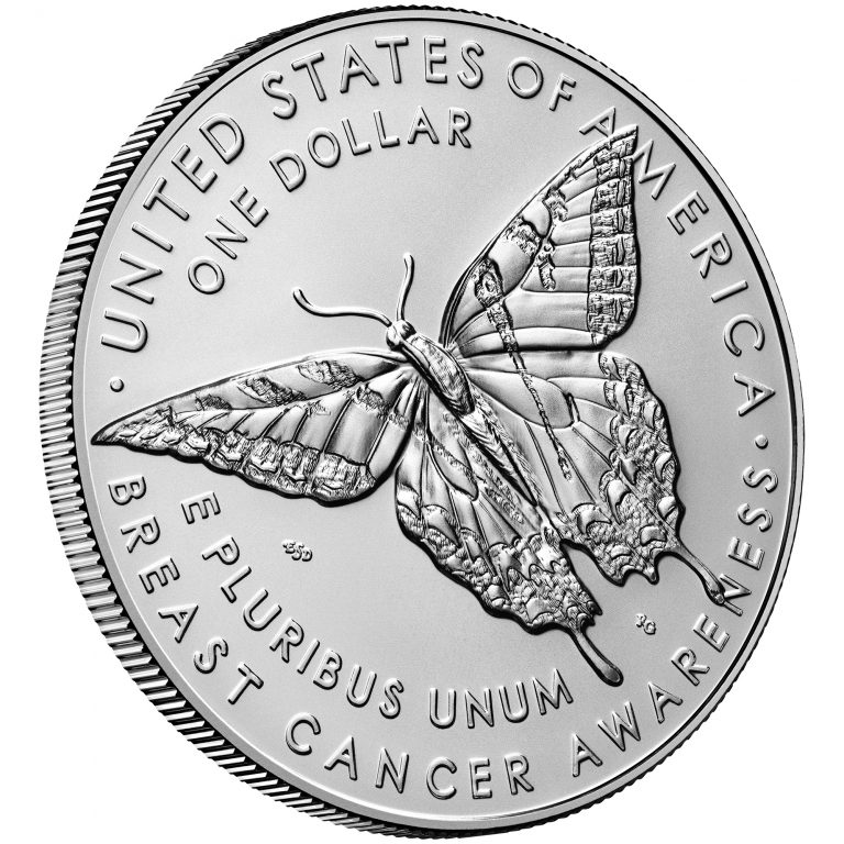 2018 Breast Cancer Awareness Commemorative Silver Uncirculated Coin Reverse Angle