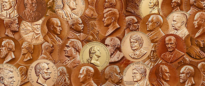 bronze presidential medals montage