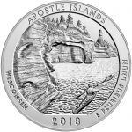 2018 America the Beautiful Quarters Five Ounce Silver Bullion Coin Apostle Islands Wisconsin Reverse