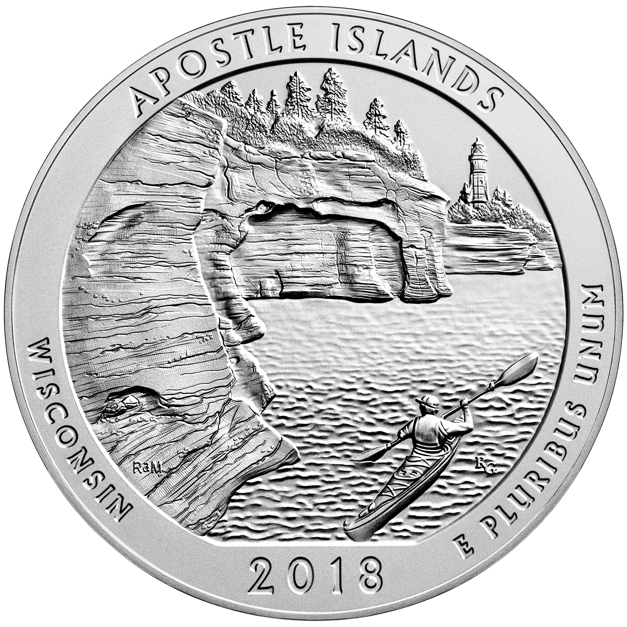 2018 America the Beautiful Quarters Five Ounce Silver Uncirculated Coin Apostle Islands Wisconsin Reverse