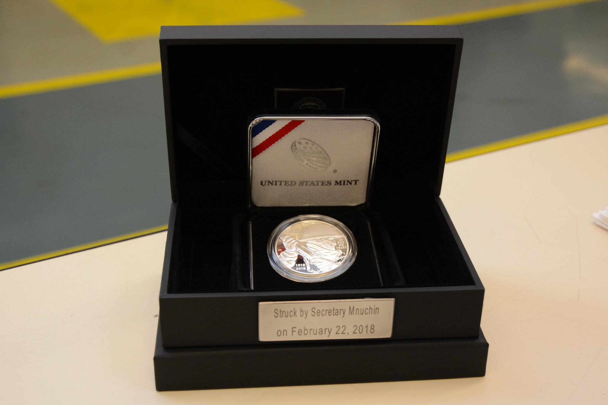 The packaging for the World War I Centennial 2018 Proof Silver Dollar struck by Treasury Secretary Steven Mnuchin at the U.S. Mint facility in Philadelphia on February 22, 2018. U.S. Mint photo by Jill Westeyn.