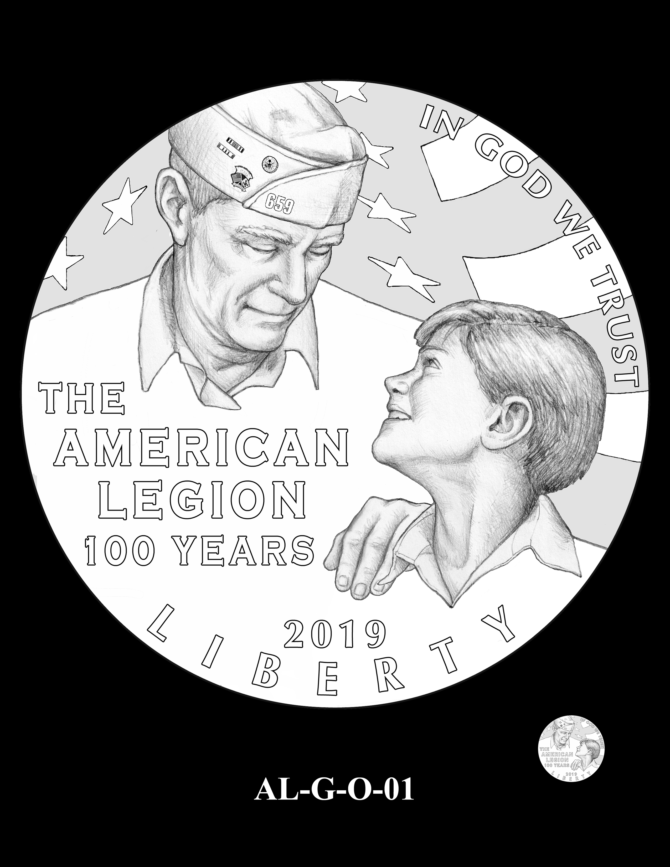 AL-G-O-01 -- 2019 American Legion 100th Anniversary Commemorative Coin Program - Gold Obverse