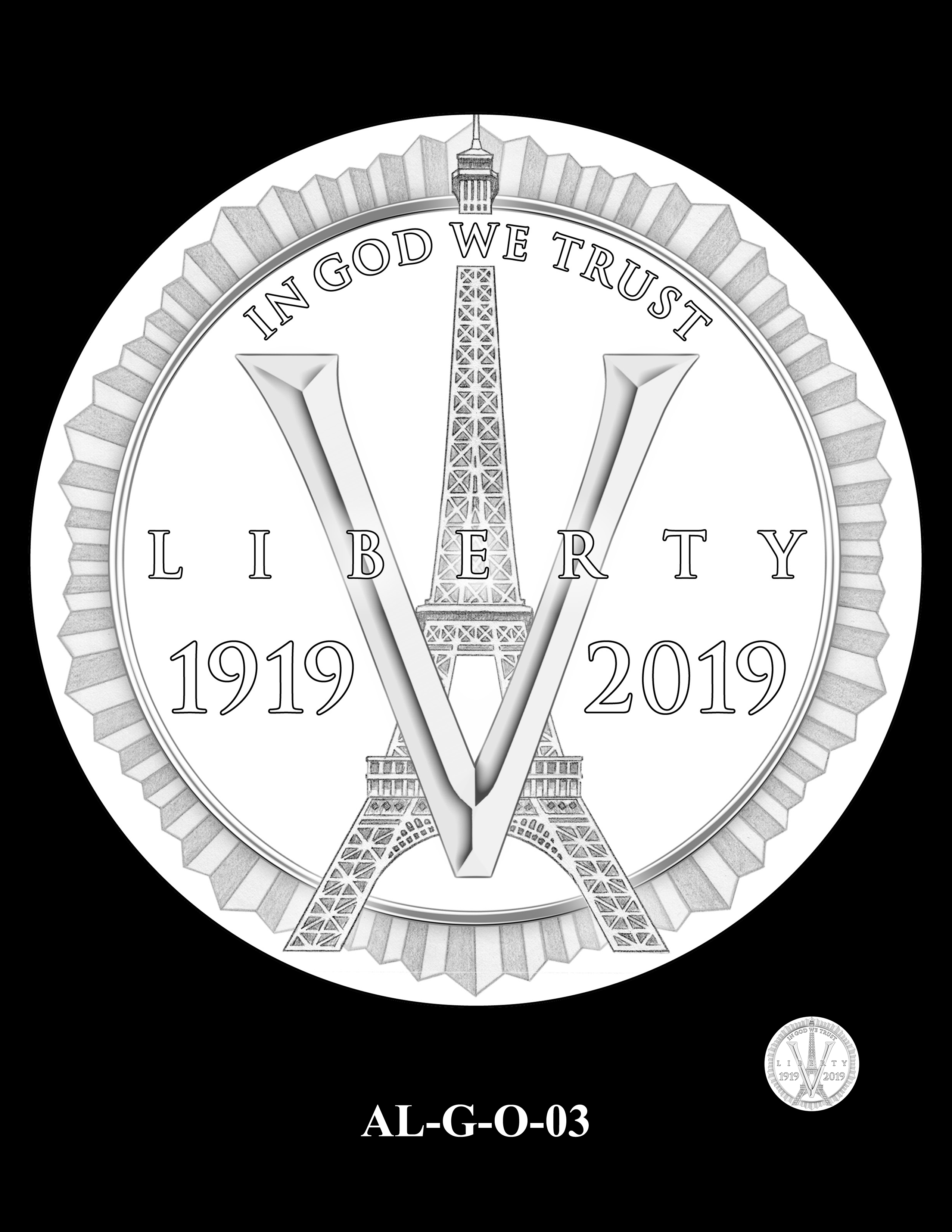 AL-G-O-03 -- 2019 American Legion 100th Anniversary Commemorative Coin Program - Gold Obverse