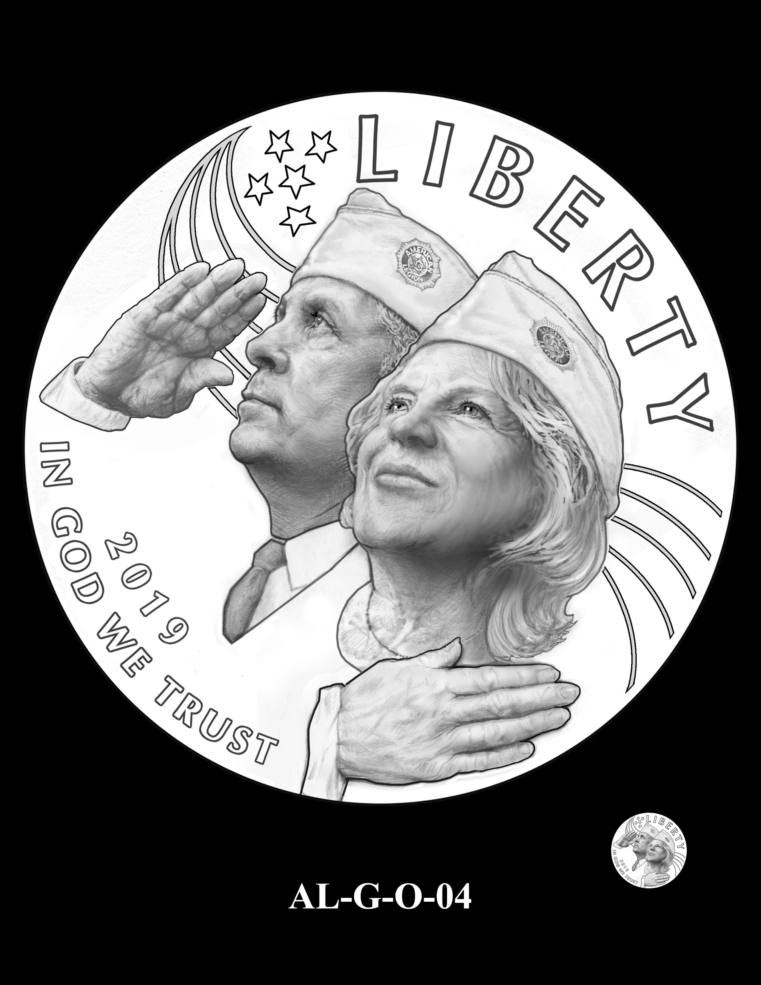 AL-G-O-04 -- 2019 American Legion 100th Anniversary Commemorative Coin Program - Gold Obverse