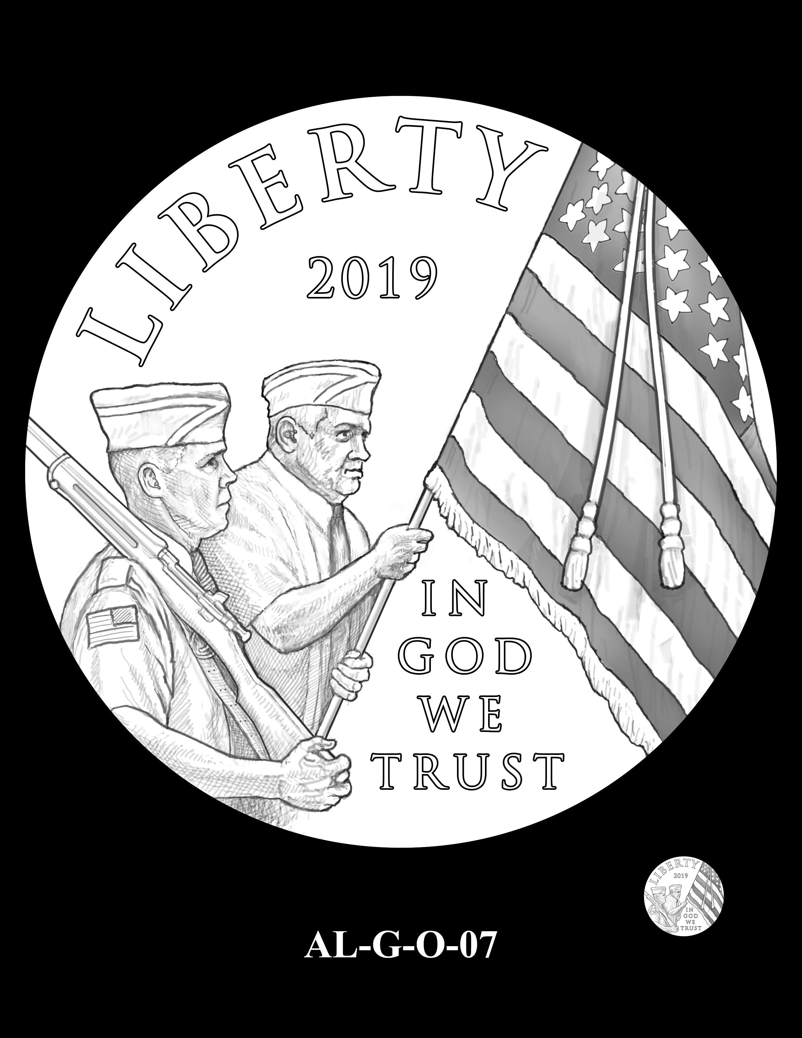 AL-G-O-07 -- 2019 American Legion 100th Anniversary Commemorative Coin Program - Gold Obverse