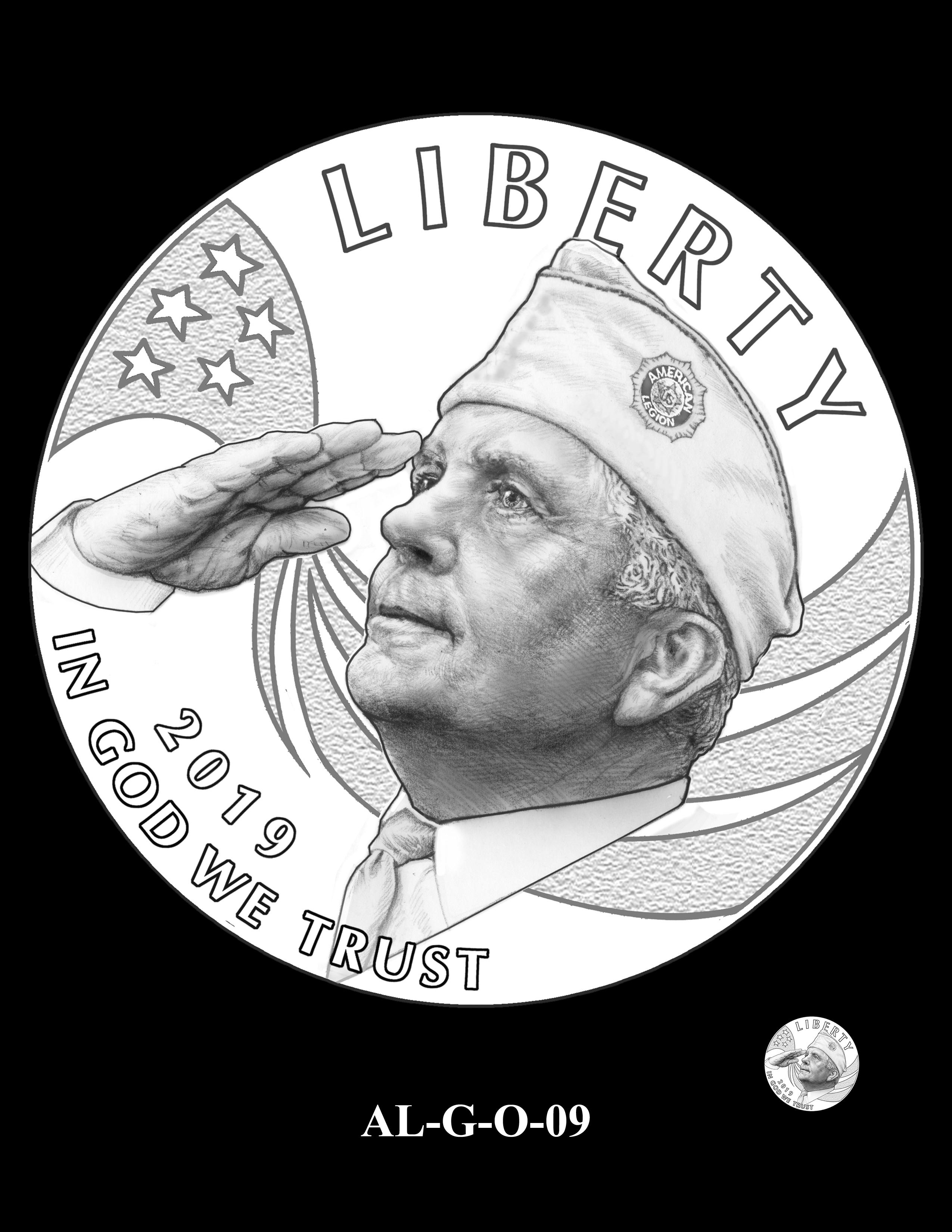 AL-G-O-09 -- 2019 American Legion 100th Anniversary Commemorative Coin Program - Gold Obverse