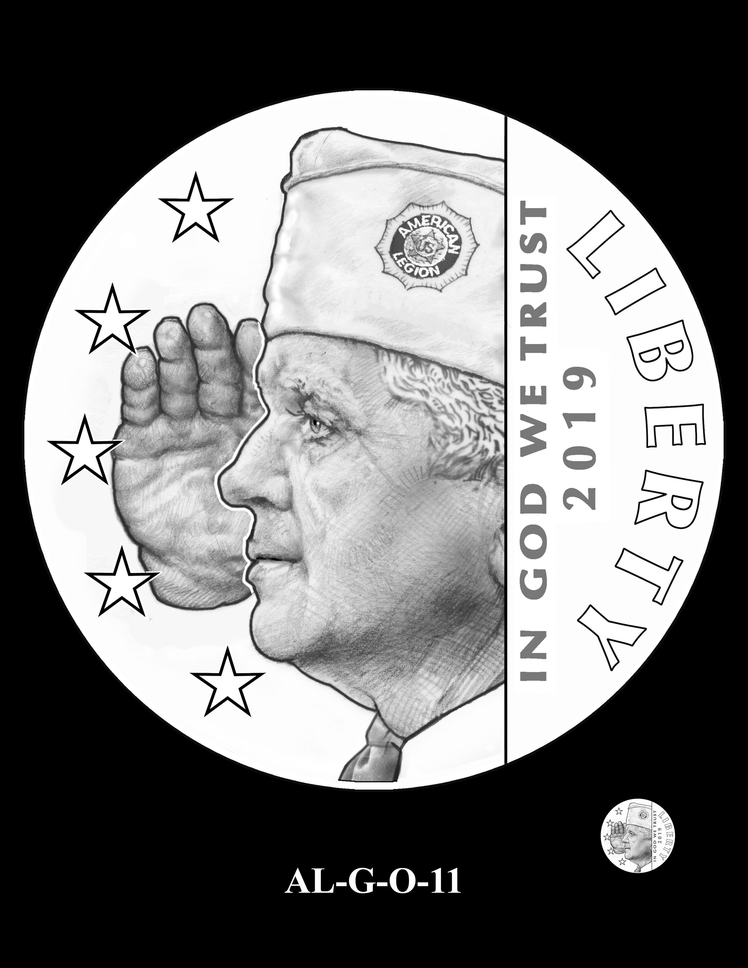 AL-G-O-11 -- 2019 American Legion 100th Anniversary Commemorative Coin Program - Gold Obverse