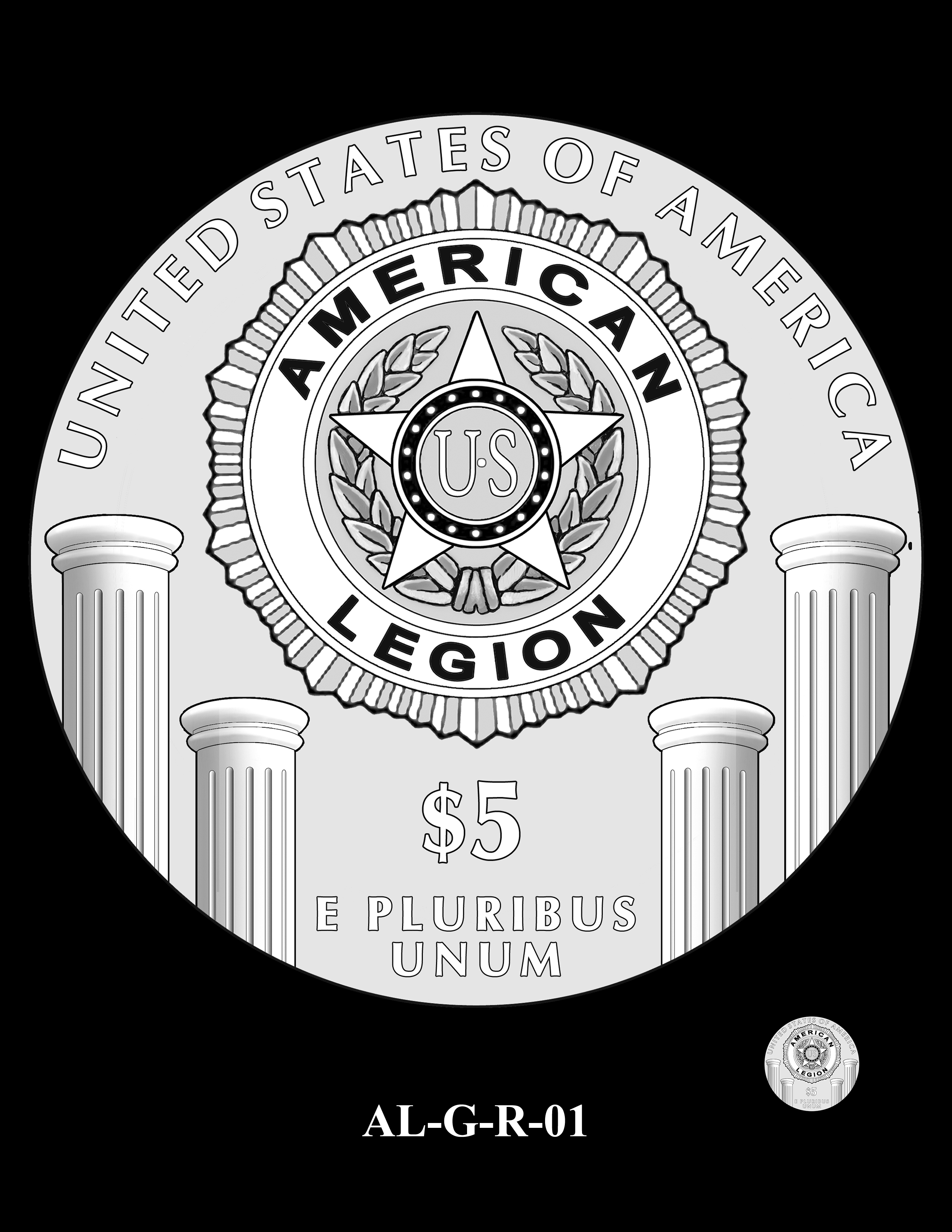 AL-G-R-01 -- 2019 American Legion 100th Anniversary Commemorative Coin Program - Gold Reverse
