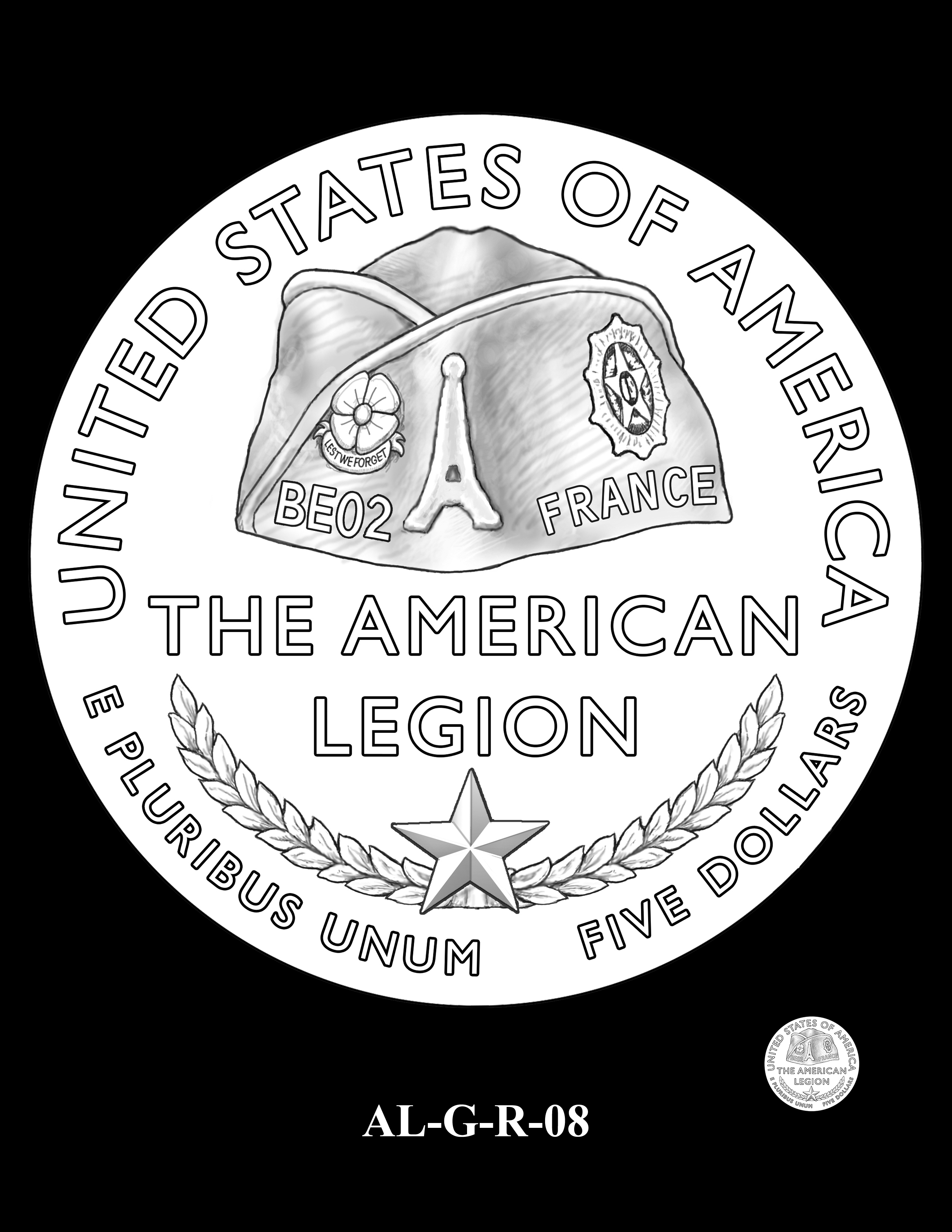 AL-G-R-08 -- 2019 American Legion 100th Anniversary Commemorative Coin Program - Gold Reverse