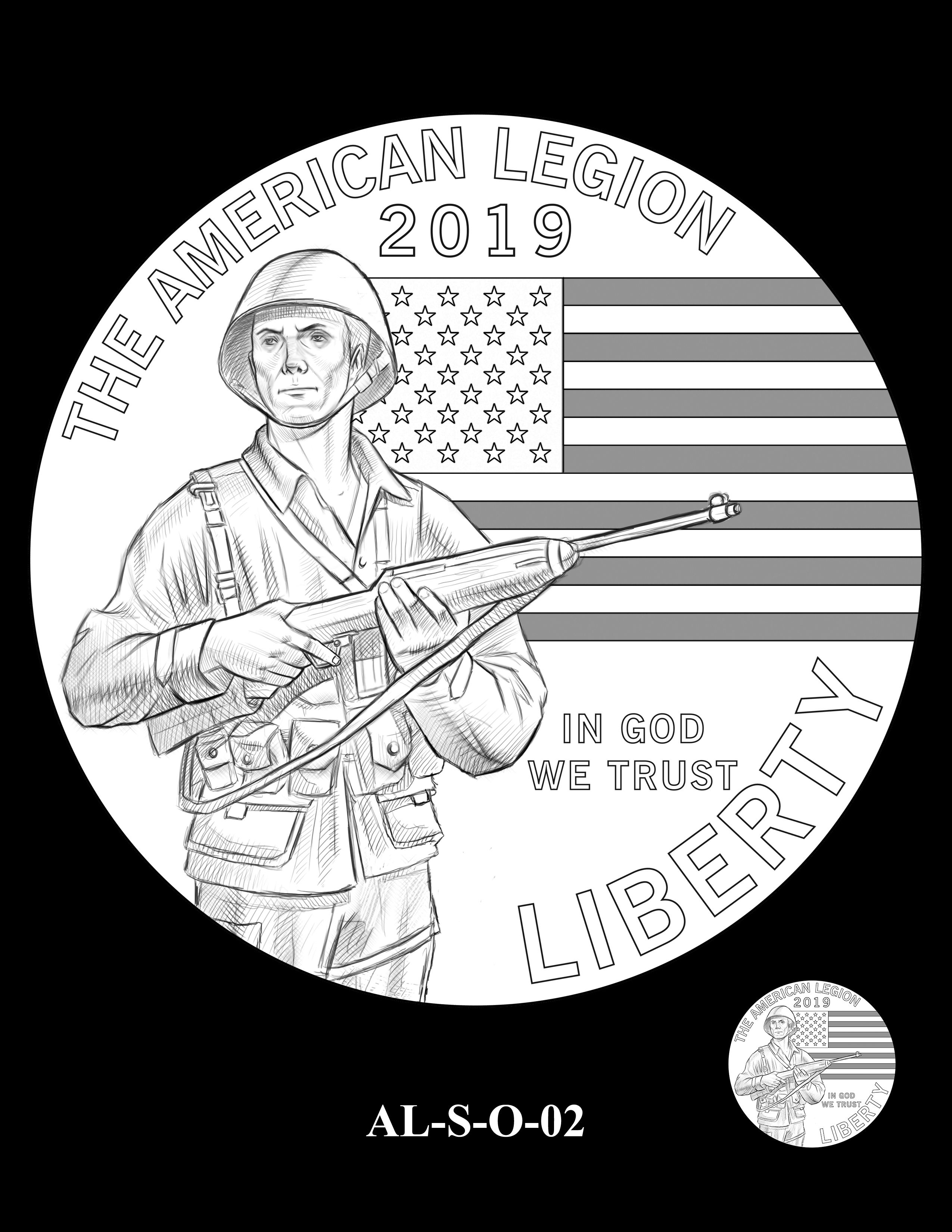 AL-S-O-02 -- 2019 American Legion 100th Anniversary Commemorative Coin Program - Silver Obverse