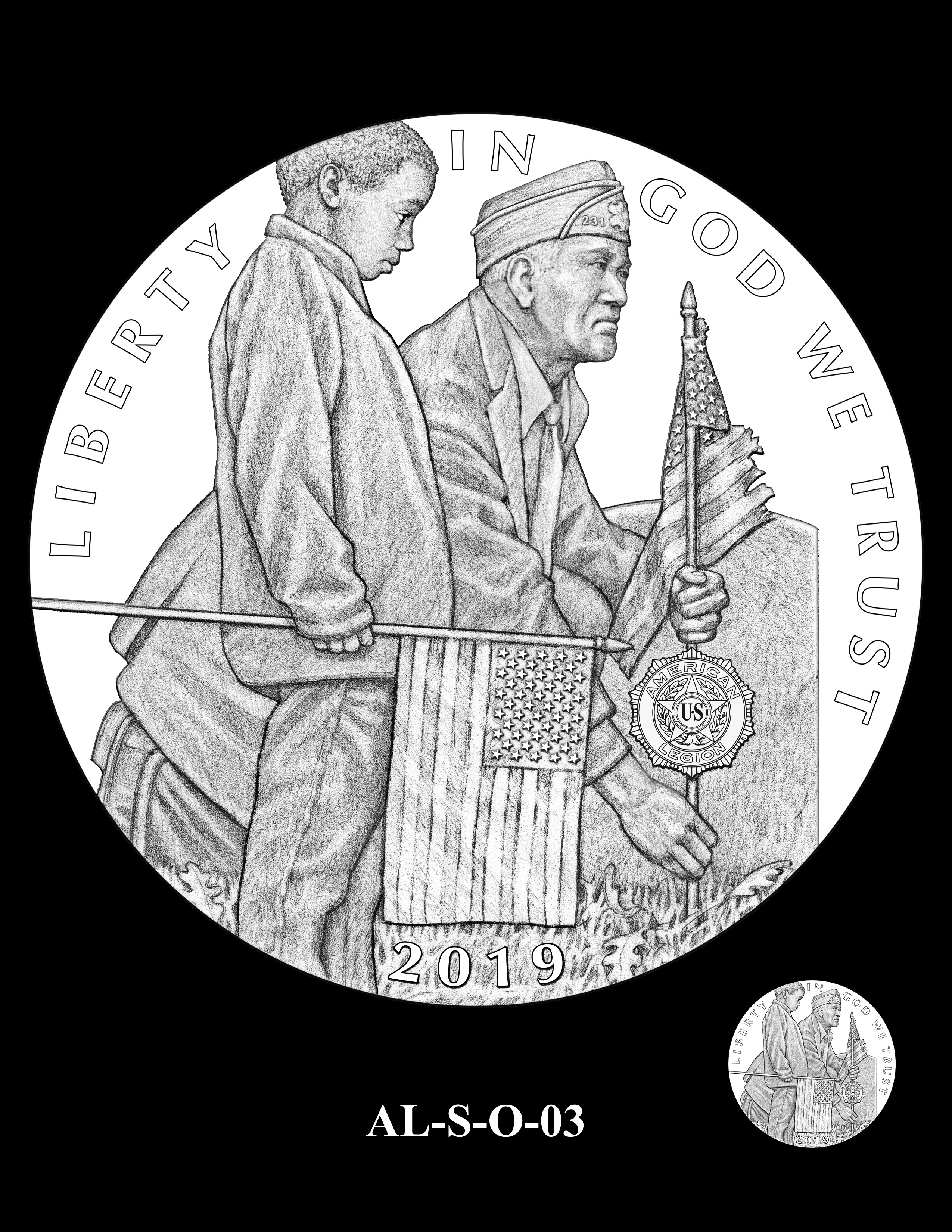 AL-S-O-03 -- 2019 American Legion 100th Anniversary Commemorative Coin Program - Silver Obverse