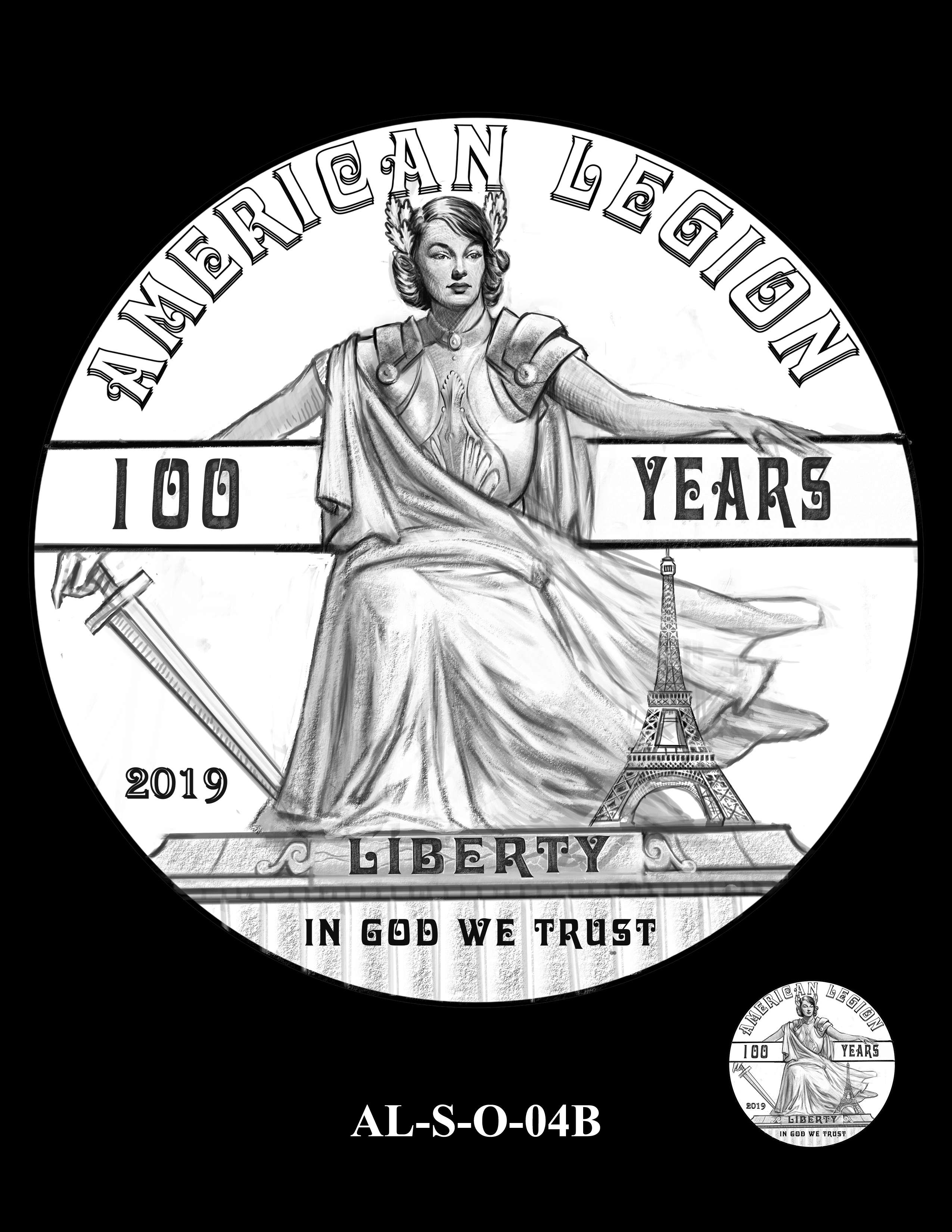 AL-S-O-04B -- 2019 American Legion 100th Anniversary Commemorative Coin Program - Silver Obverse