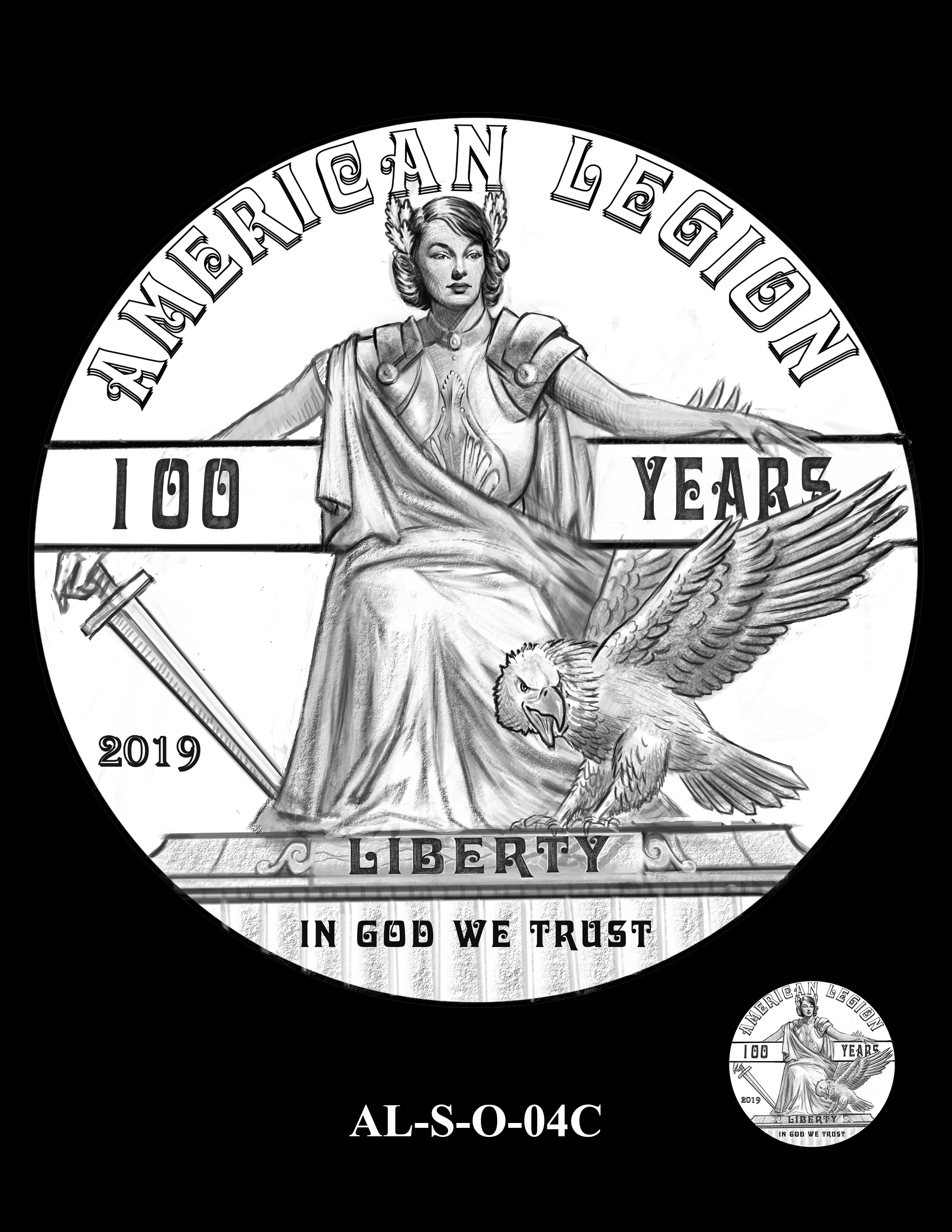 AL-S-O-04C -- 2019 American Legion 100th Anniversary Commemorative Coin Program - Silver Obverse