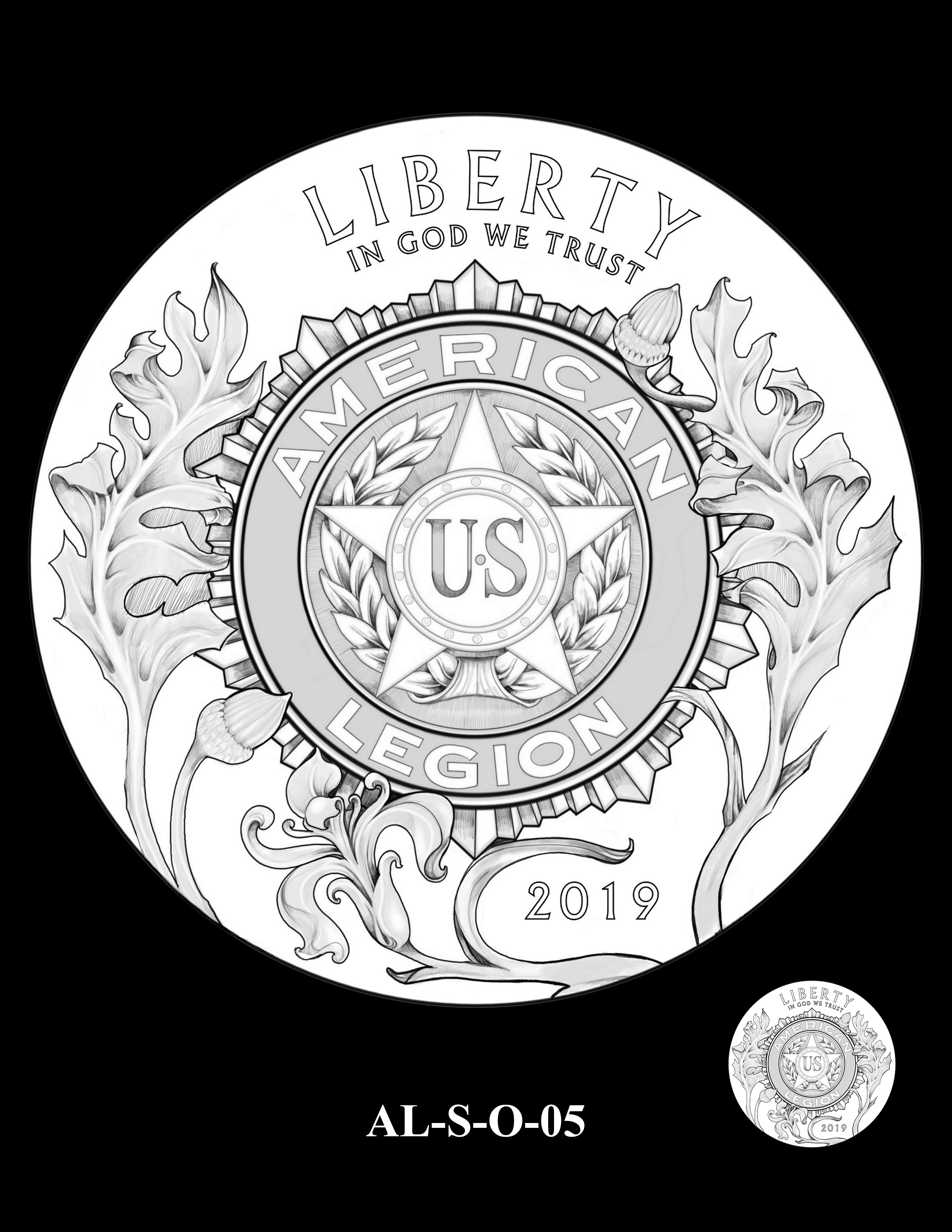 AL-S-O-05 -- 2019 American Legion 100th Anniversary Commemorative Coin Program - Silver Obverse