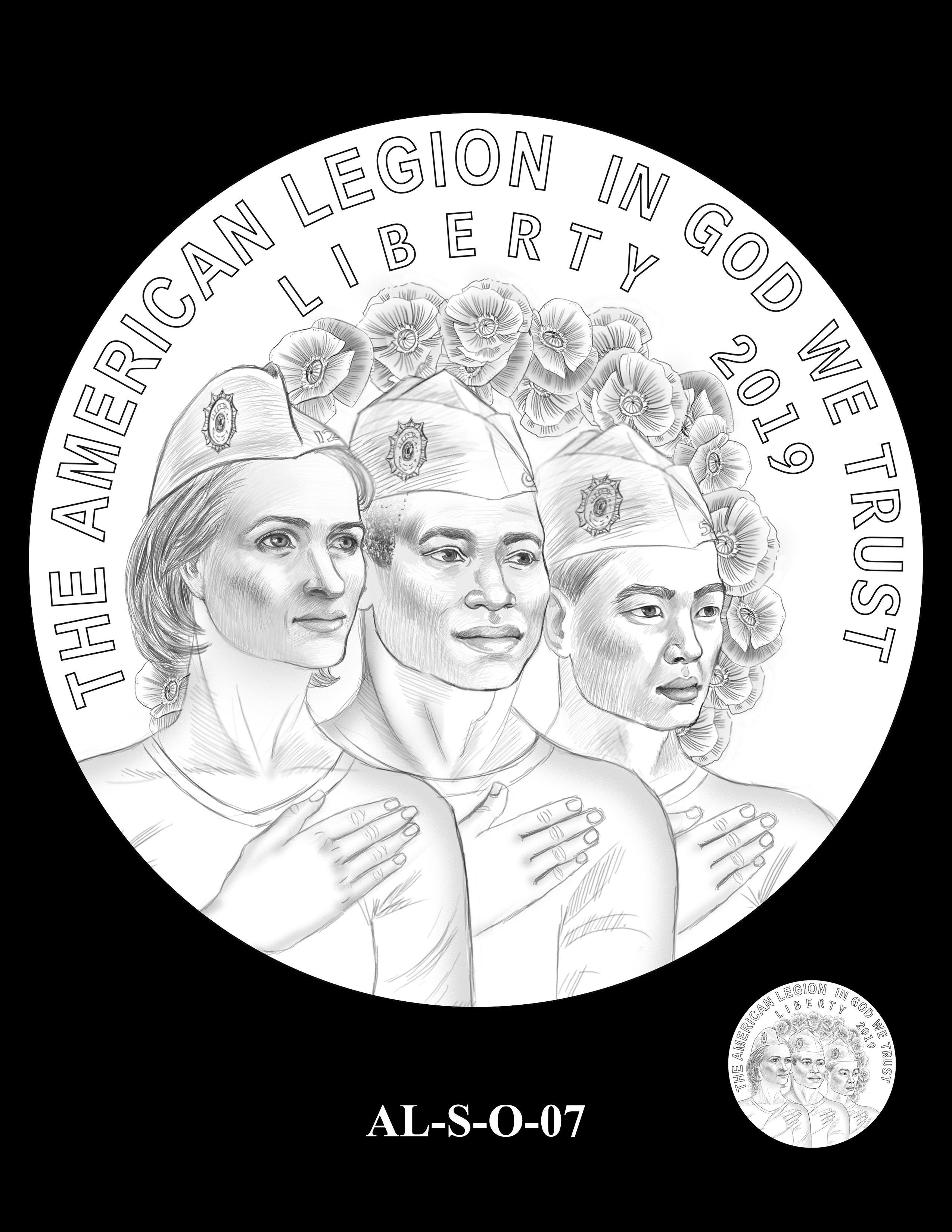AL-S-O-07 -- 2019 American Legion 100th Anniversary Commemorative Coin Program - Silver Obverse